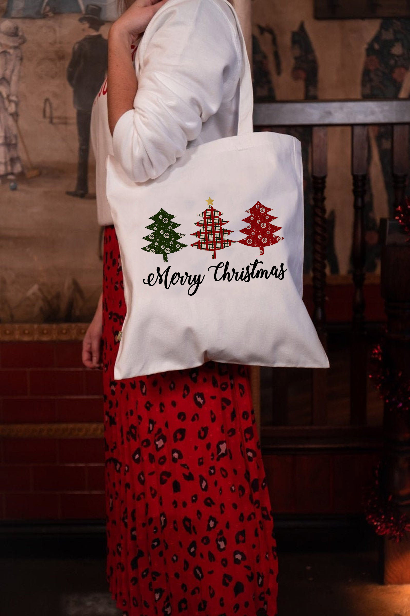 Merry Christmas Tote Bag Women Canvas Bags Casual Cloth Shoulder Bag For Girls Ladies Christmas Shopper Bag Holiday Gift