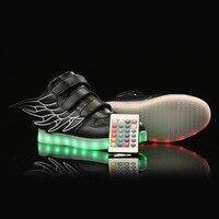 Crianças de controle remoto asa luz incluído usb recarregável colorido led luminosa sapatos para crianças sapatos casuais placa lig|Sapateiras e organizadores de sapato|   -