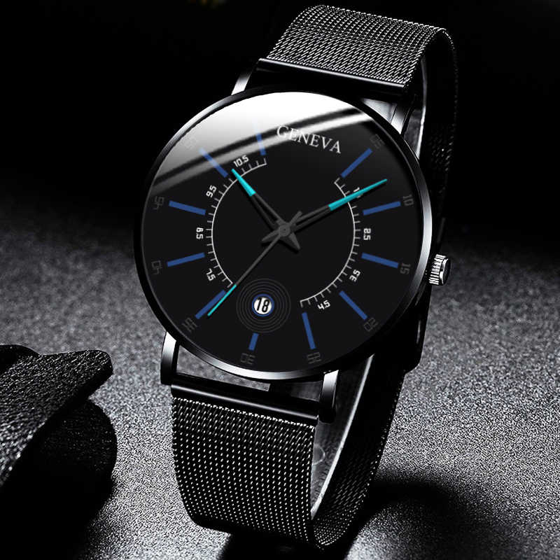 2020 رجال الأعمال الموضة الحد الأدنى الساعات رقيقة جدا شبكة من الاستانلس استيل باند التناظرية ساعة كوارتز Relogio Masculino reloj