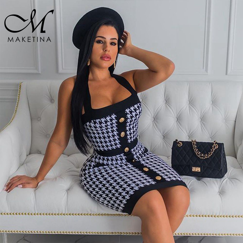 Maketina Luxury Bandage <font><b>Dress</b></font> <font><b>2019</b></font> <font><b>Black</b></font> Plaid Halter <font><b>Sleeveless</b></font> Bandage <font><b>Dress</b></font> <font><b>Summer</b></font> Women <font><b>Sexy</b></font> Bandage <font><b>Dress</b></font> Mini Club <font><b>Dress</b></font> image