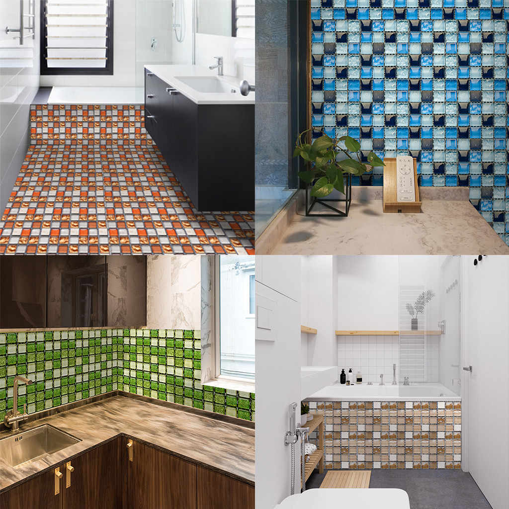 Tile Wallpaper Self Adhesive Vinyl Washable Mosaic Effect Wallcovering Home Deco