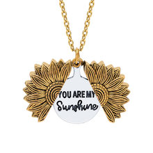 Moda Bohemia girasol doble capa Metal colgante collar para mujer abierto cadena larga collar letras you are my sunshine(China)