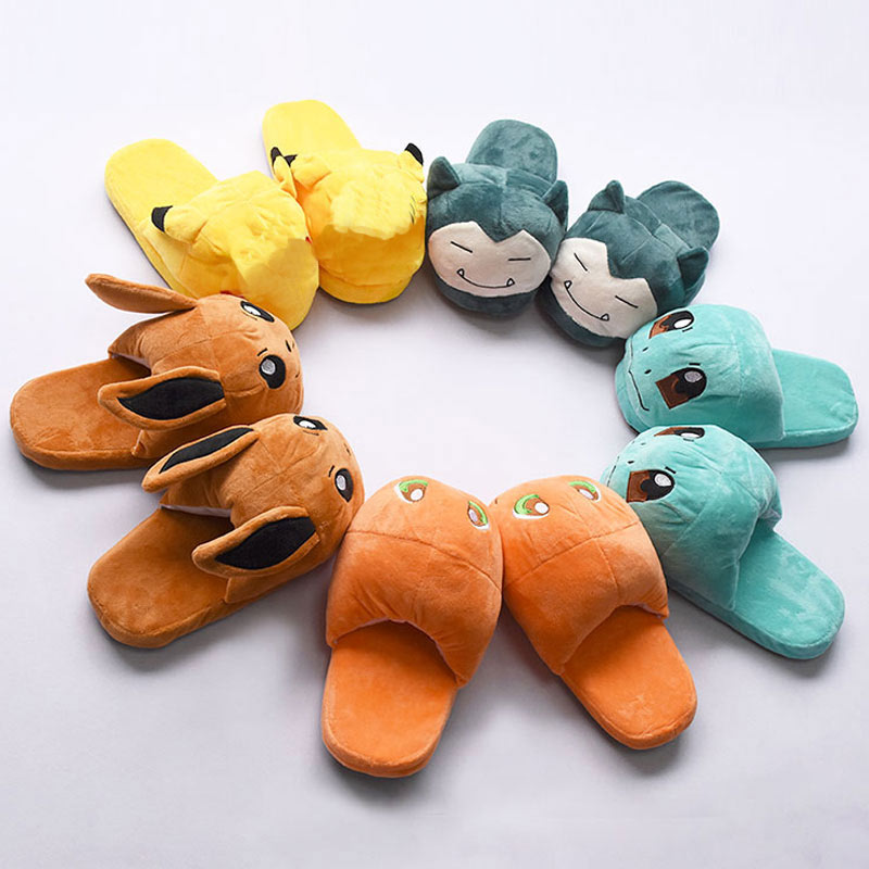 Kawaii Shoes Adult Women Girl Cotton Slippers Cartoon Anime Pikaqiu Eevee Slippers Cute Winter Festival Kigurumi Party