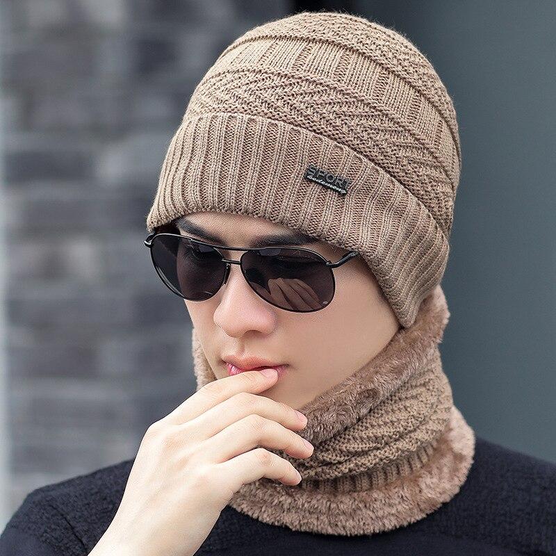 Winter Beanie Hat Scarf Set For Men Women Warm Knit Hat Thick Fleece Lined Hat & Scarf Skullies Bonnet For Men Women Unisex Hats