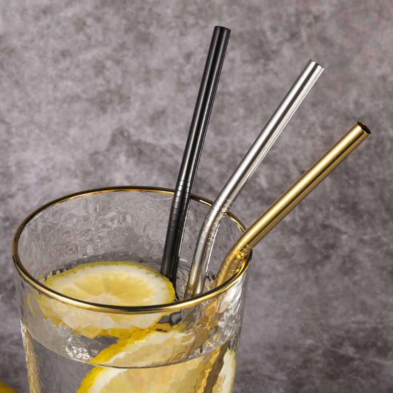 Có Thể Tái Sử Dụng Kim Loại Bình Tập Uống Có Ống Hút 4/8Pcs 304 Thép Không Gỉ Chắc Chắn Uốn Cong Thẳng Thức Uống Ống Hút