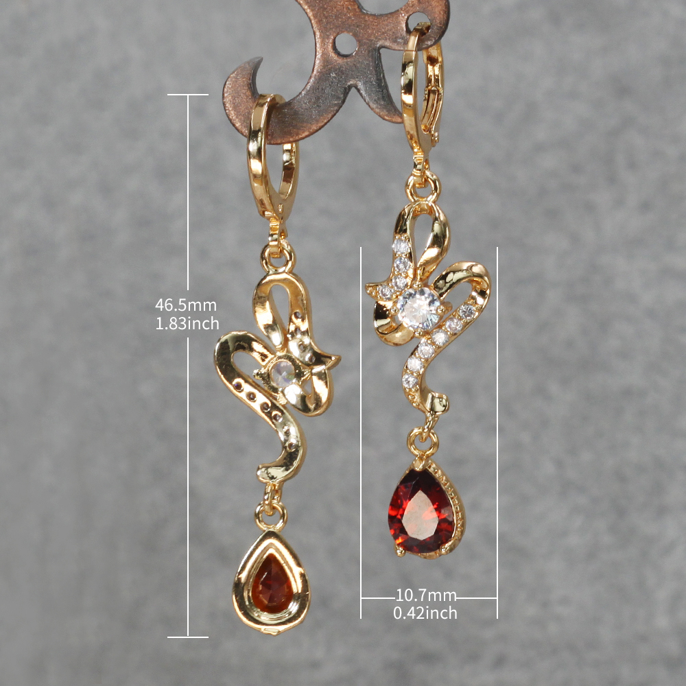 H5db37b160ed14b46bfab00cb313b70a9j - Trendy Vintage Drop Earrings For Women Gold Filled  Red Green Pink Lavender Zircon Earrings Gold  Earring Wedding  Jewelry