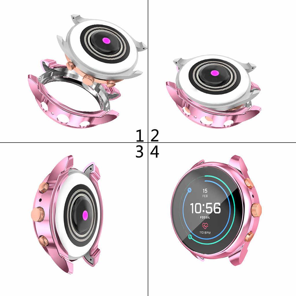 Smartwatch casos relógio inteligente cobre galvaniza tpu macio quadro caso capa com protetor de tela para Fossil-ftw6022