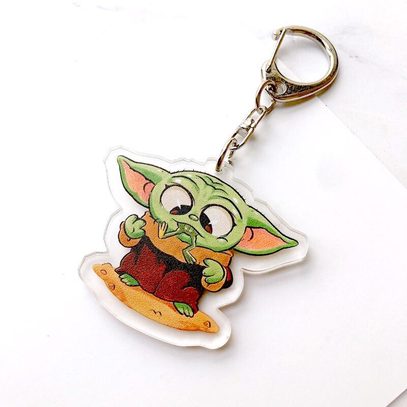 Baby Yoda Long Design Keychain The Mandalorian Theme Keyring Holder Cartoon Bag Pendant