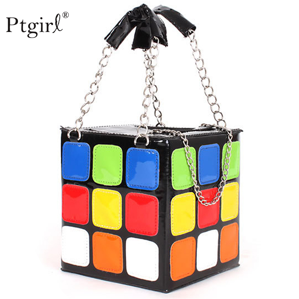 Fashion Pu Leather Casual Colorful Love Cube Bag Ptgirl Phone Purse Stereotypes Small Flap Bags 2019 New Arrival Handbags Sac