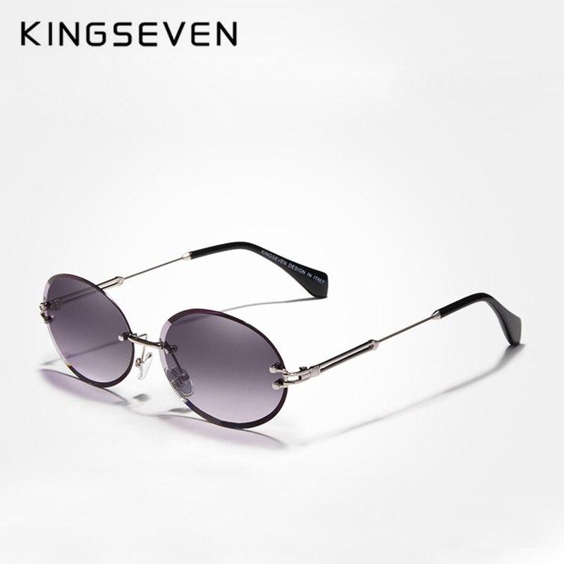 KINGSEVEN DESIGN Fashion Oval Sun Glasses Women Rimless Sunglasses Vintage Alloy Frame Classic Brand Designer Shades Oculo