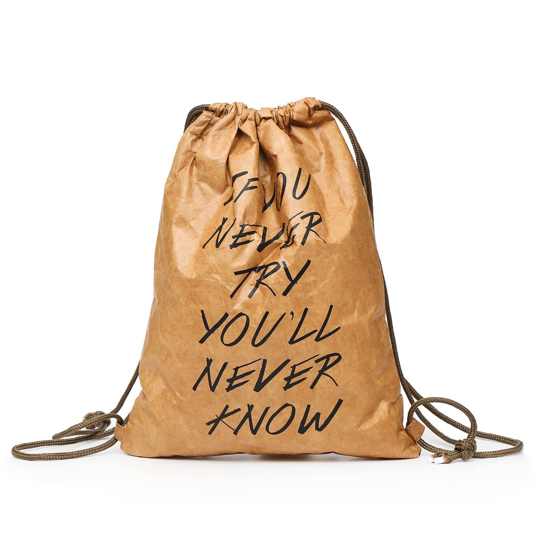 PUBGS Drawstring Harness Women Bag 2019 NEW Kraft Paper Bags Light Washable Waterproof Multifunction Package