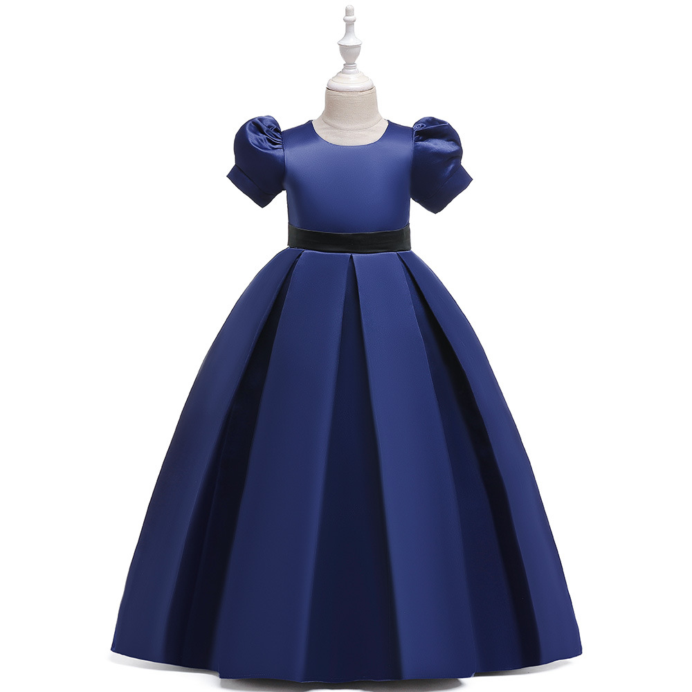 Big Boy Formal Dress Europe And America New Style Women's Big Boy Paragraph Cloth Puff Sleeve Long Formal Dress
