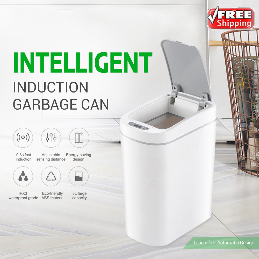 Original Smart Trash Can Motion Sensor 7L Ashcan Bins Auto Sealing LED Induction Cover Trash IPX3 Waterproof