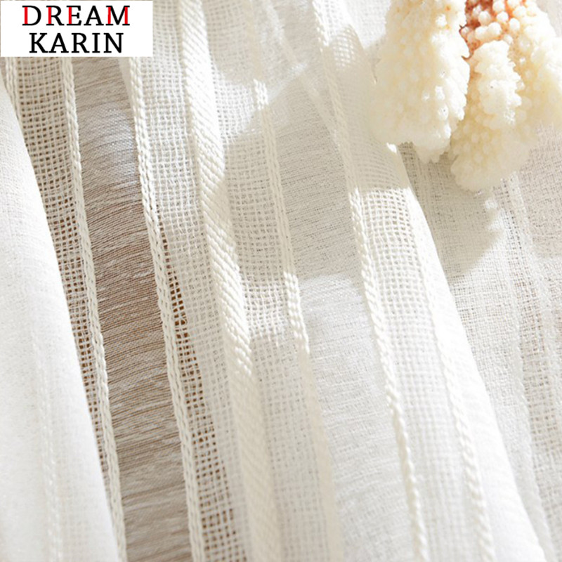 Modern Linen Curtain For Living Room Bedroom Sheer Curtains Striped Beige Thick Tulle Curtain Window Treatments Customized