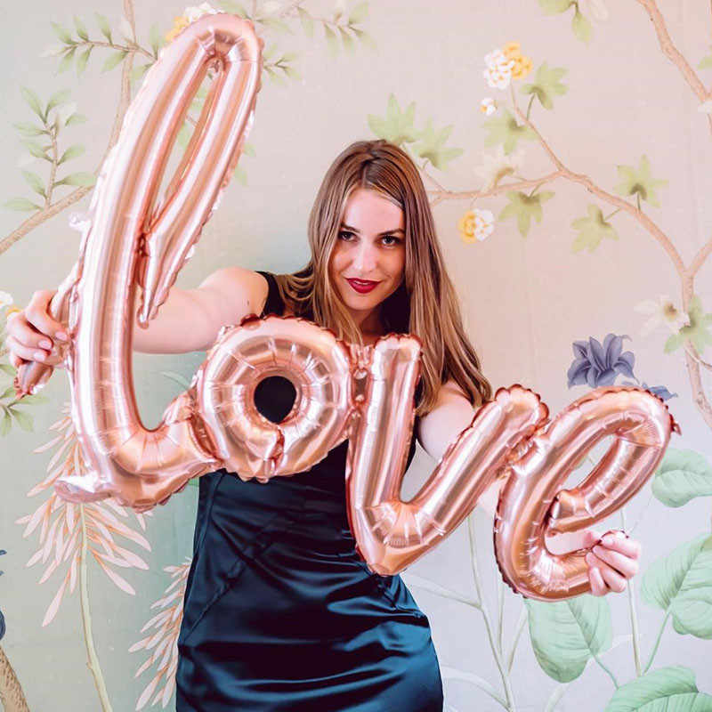 1 PC ขนาดใหญ่ Rose Gold Link LOVE เจ้าสาวฟอยล์บอลลูนแหวนเพชรแก้วแชมเปญขวดทารกฝักบัวปาร์ตี้วันเกิดอุปกรณ์
