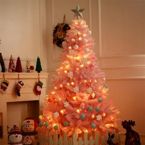 1.2M Cherry Blossom Pink Christmas Tree Decoration Deluxe Encrypted Christmas Tree Gifts with LED Lights Colorful Ball Decor(China)