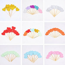 10pcs/multicolor bling heart shape insert card with toothpick for wedding birthday party cute lovely gift cake decoration(China)