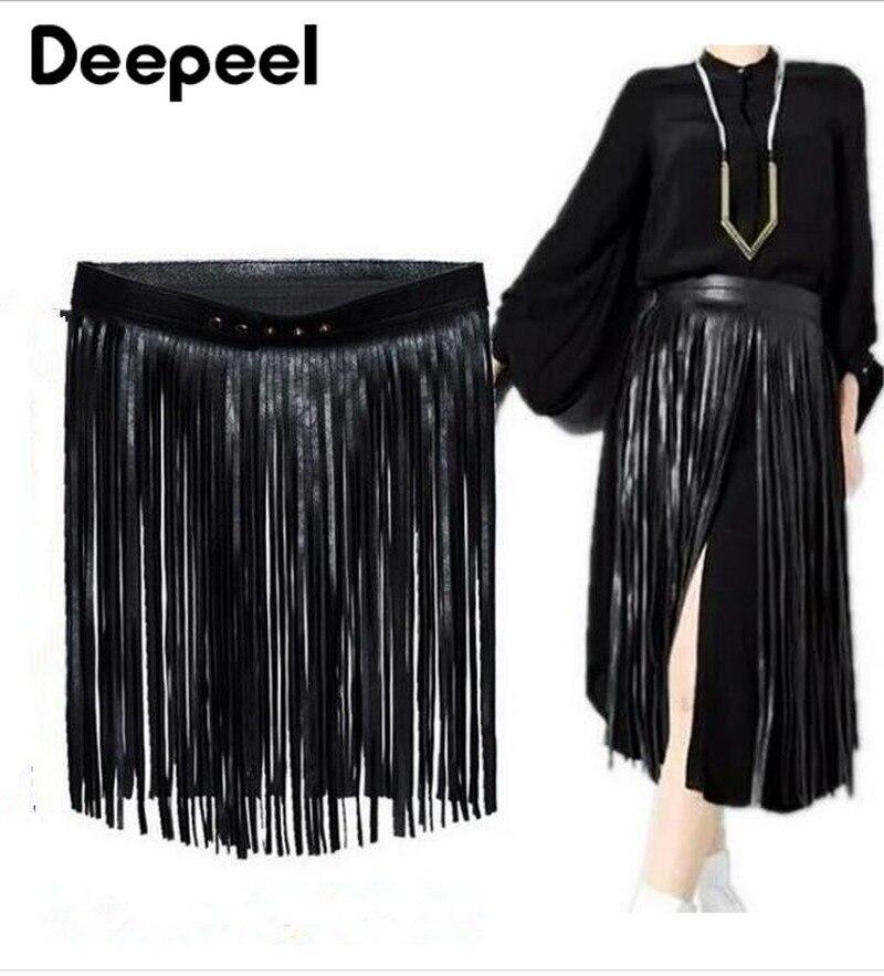 Deepeel 35-70cm Long Tassel Belt Women's Adjustable Cummerbunds PU Leather Luxury Women's Belt For Skirt Clothes Decor YK619