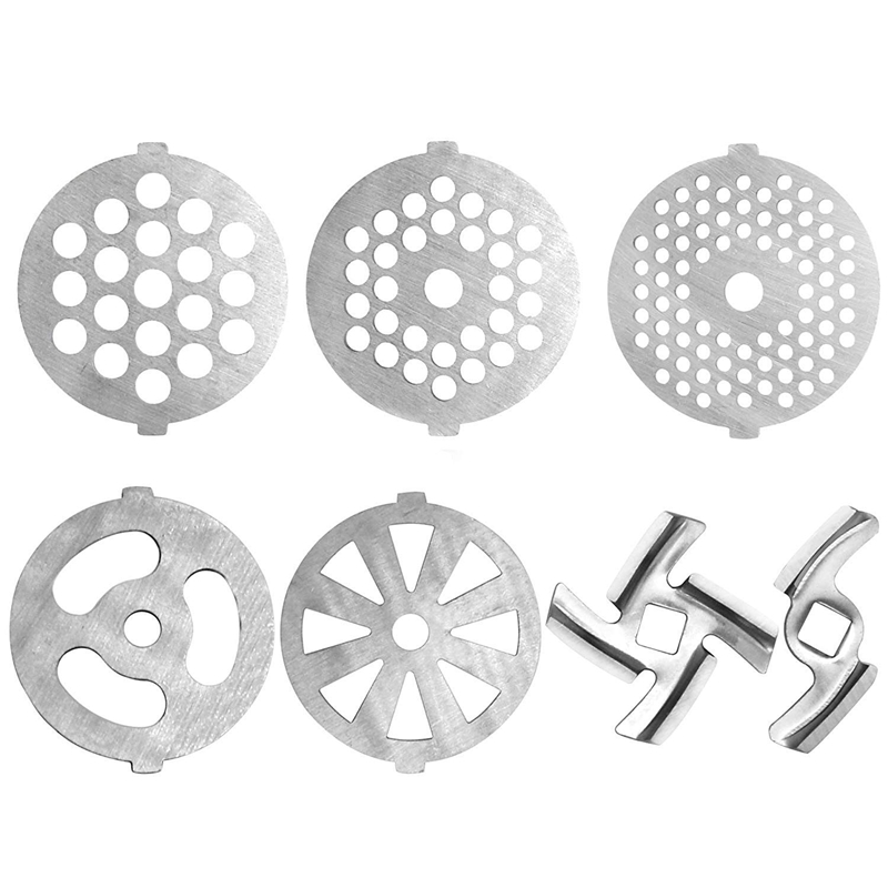 7 Piece Stainless Steel Meat Grinder Plates Discs And Blade For Food Chopper And Meat Grinder Machinery Parts