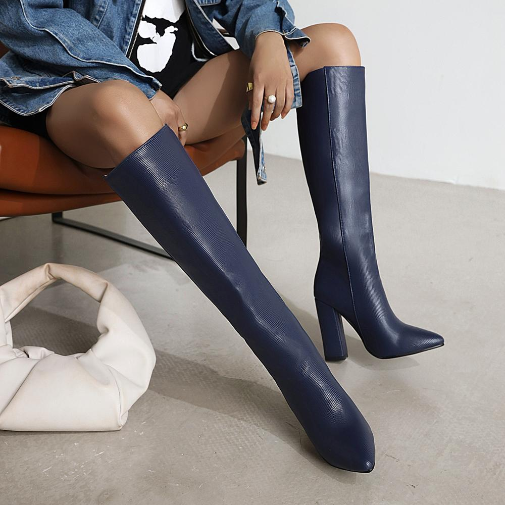 Women Boots Sqaure High Heel Knee High Boots Faux Leather Pointed Toe Autumn Winter Long boots Black Blue 34-43