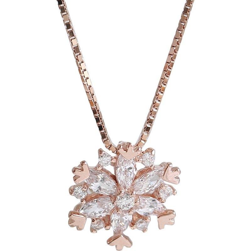 925 Sterling Silver Shiny AAA Zircon Necklace Pendant Girls Wedding Party Birthday Present Choker Fine Jewelry