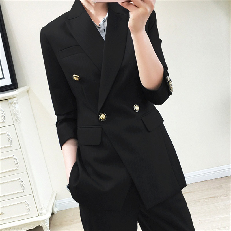 High Quality Autumn Professional Women's Suits Large Size M-5XL Casual Double-breasted Black Suit Jacket Female Pants Suit 2019