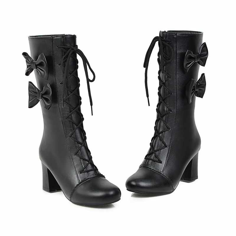 Sonbahar Ve Kış yeni stil tatlı Yay Orta çizmeler Yüksek topuk Dantel kadın botları Pembe Lolita Öğrenci Martin Çizmeler artı boyutu 34-43