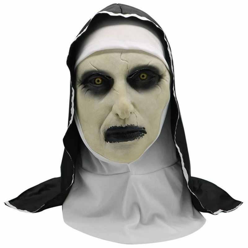 2019 Halloween nonne masque peur femme fantôme couvre-chef nonne horreur masque Costume Valak effrayant Latex masque avec foulard