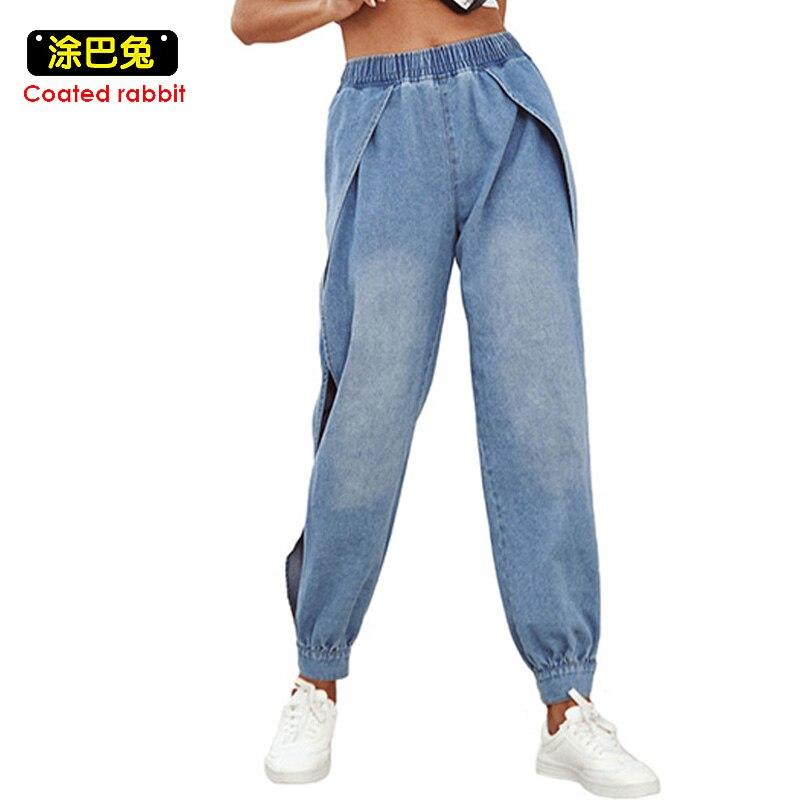 Women High Waist Long Jeans Spring Bottom Side Open Split Runway Pants Cut Out Hole Luxury Ladies Denim Trousers Streetwear