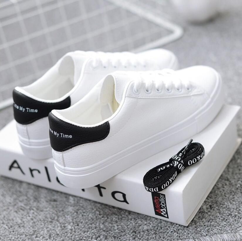 HOT Women Sneakers 2020 Fashion Breathble Vulcanized Shoes Women Pu Leather Platform Shoes Zapatillas Mujer Casual Shoes White