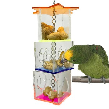 3 Layer Parrot Hanging Chewing Feeding Toy Bird Feeding Transparent Food Feeder Holder Star Shaped Box Cage Toy Bird Accessories 2