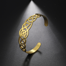 My Shape Viking Cuff Bangle Celtics Knot Bracelet for Women Stainless Steel Irish Knot Silver/Gold Color Jewelry Men Women Gift trendy solid color nail shape cuff bracelet for women