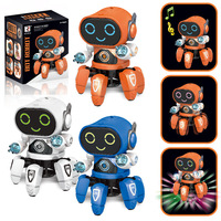 Hot Selling Small 6 Dancing Electric Six claw Fish Robot Light Included Light Music Children Boy Stall Toy Wholesale