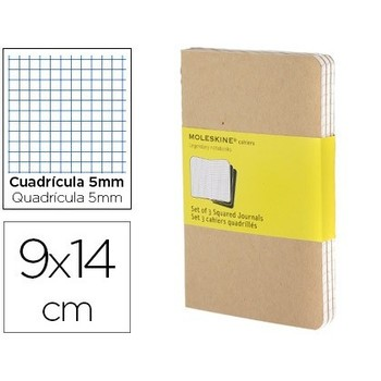 MOLESKINE notebook hard cover picture 5 MM 64 sheets with 16 removable sheets COLOR KRAFTPACK of 3 PCs 90X140 MM
