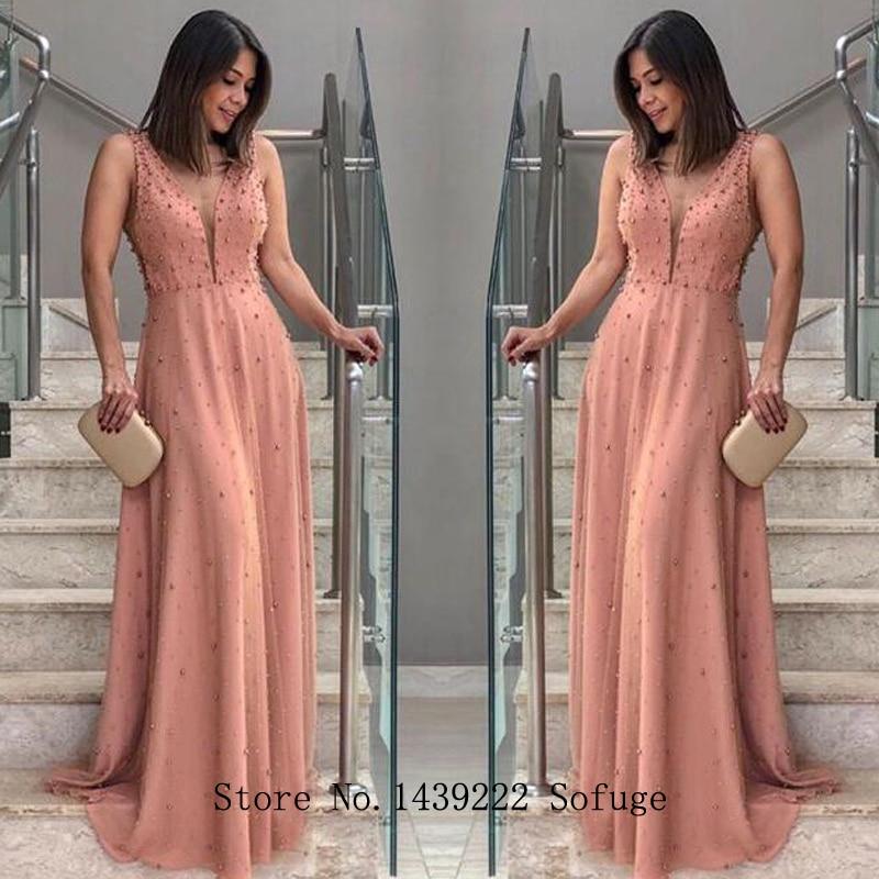 Pink V Neck Pearls Evening Dresses Prom Straps Chiffon Pleat Arabic Vestidos De Fiesta De Noche Robe De Soiree Plus Size