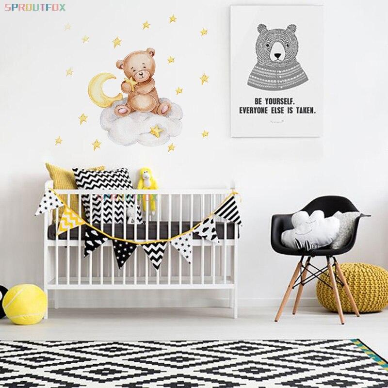 Мультфильм Животные коричневого, наклейки на стену в виде медведя для стены украшения детской комнаты мальчиков детские наклейки для стен ...