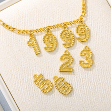 English Number Chokers Necklaces Women Men Birthday Gift Personalized Birth Year Digital Gold Chain Necklaces Custom Jewelry