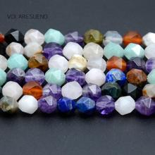 Natural Faceted Mixed Lapis Lazuli Amethysts Quartz Round Loose Beads For Jewelry Making 6-10mm Spacer Fit Diy Bracelets