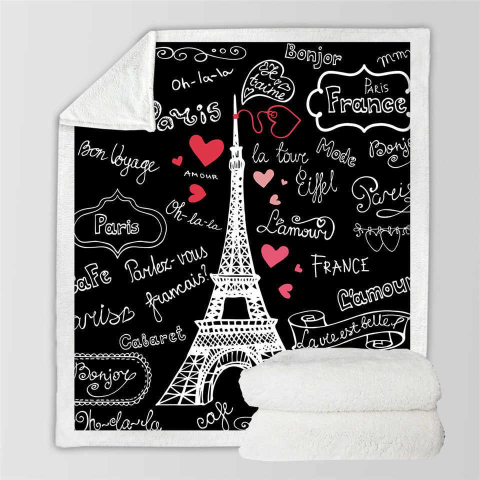 3D Paris tour jeter couverture sur le lit lettres romantiques Sherpa polaire couverture coeur peluche canapé Plaid