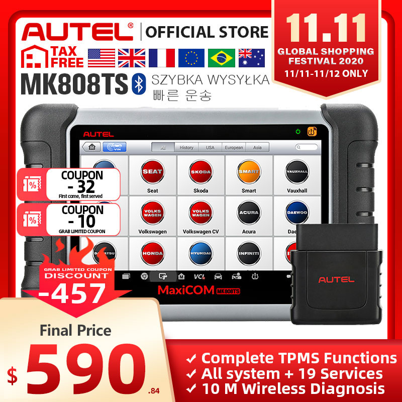 Autel MaxiCOM MK808TS OBD2 Bluetooth Scanner Automotivo Car Diagnostic Scan Tool OBD 2 Programing TPMS Sensor PK MK808 MP808TS