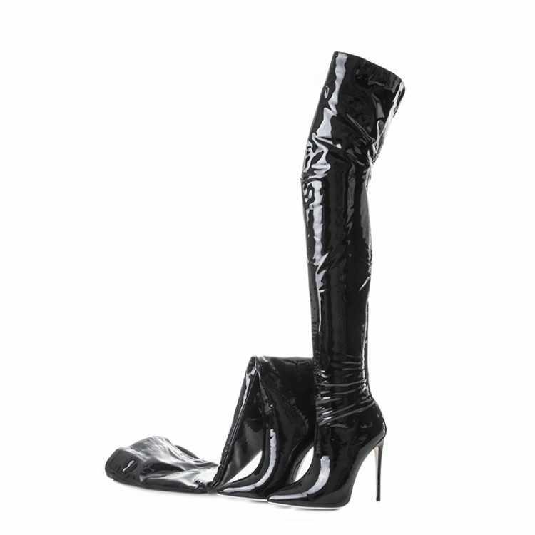2019 keskin ayakkabı seksi Patent deri kadın botları geri fermuar Overknee çizmeler 48