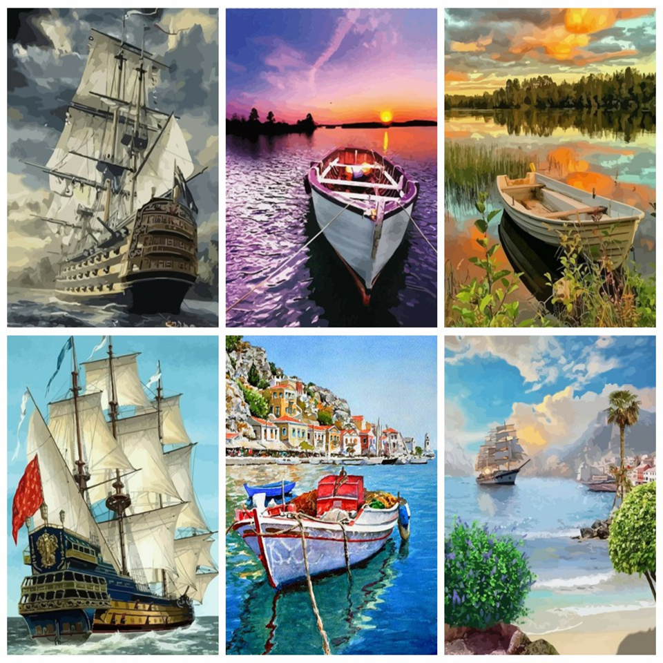 AZQSD Oil Painting By Numbers Seascape Pictures Paint By Numbers Ship Full Kits Painting For Home Decoration 40x50cm