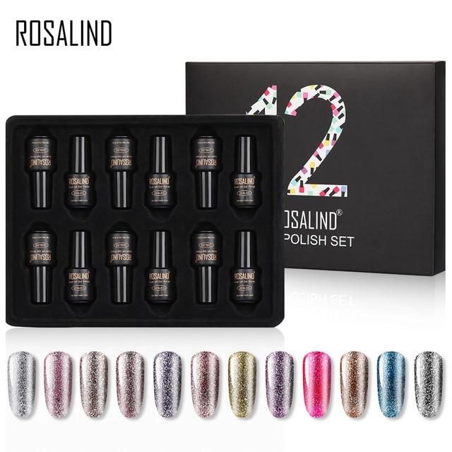 ROSALIND Nail Gel Polish Set For Manicure UV Colors Gel Varnish Semi Permanent Hybrid Nail Art Gel Polish Set & Kits 12PCS/LOT 1
