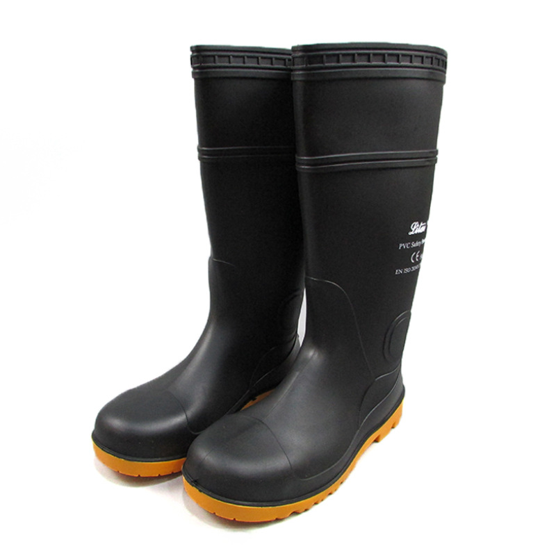 Tianjin We Got Rita Card Black And White With Pattern Boots  Rubber Sole Steel Top Smashing Rain Boots Oil-Resistant Wear-Resis