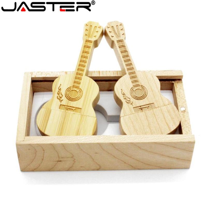 JASTER 1PCS Free Logo Natural Wooden Guitar+box Pendrive 4GB 8GB 16GB 32GB 64GB Wood Guitars Usb Flash Drive Memory Stick Gifts