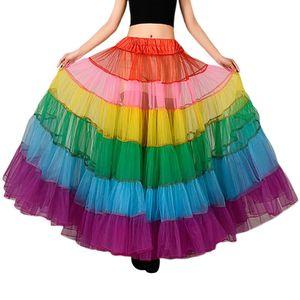 Image 2 - צבעוני תחתונית ללא עצמות שמלת כלה תחתוניות גדול מטוטלת ריקוד רשת טוטו חצאיות קרינולינה כלה תחתונית רוקבילי