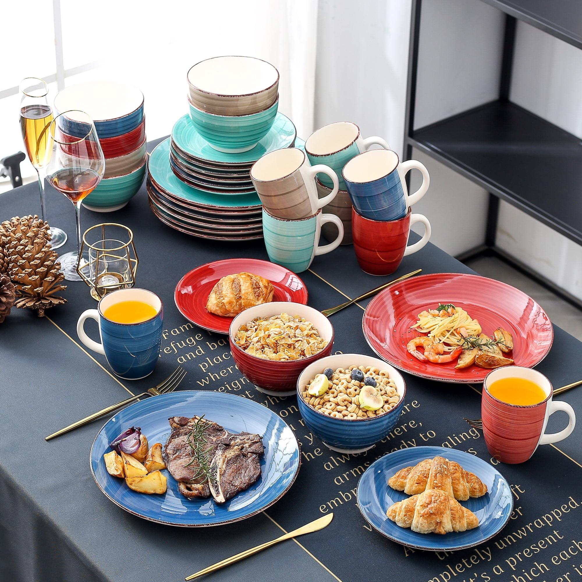 Vancasso Bella-ensemble de table en porcelaine   32 pièces, service d'assiettes en céramique Look Vintage avec assiette à dîner 8 *, assiette à Dessert, bol et tasse