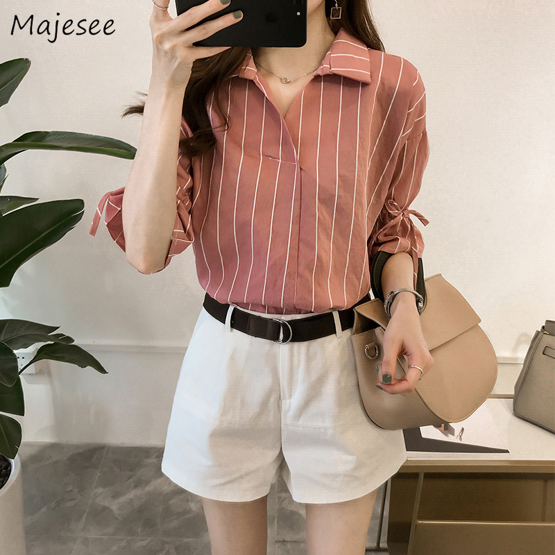 Shirts Women Striped Turn-down Collar Office Lady Workwear Elegant Womens Half Sleeve Korean Style Ulzzang Ladies High Quality