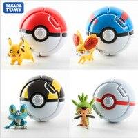 Takara Tomy-figuras de acción de Pokémon, 4 Uds., de 7CM de Pikachu PokeBalls, bolas de Pikachu