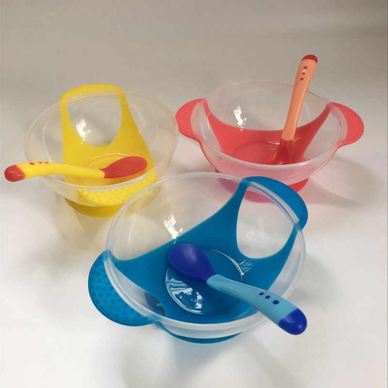 Alimentação Tigela Conjunto de Alimentação Do Bebê Otário Tigela Colher Sensor de Temperatura Colher de Bebê Talheres Aprendizagem Auxiliar de Pratos Tigela de Comida Crianças